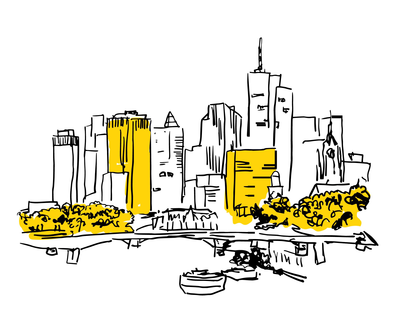 Eine Grafik mit Skizze Frankfurt am Main