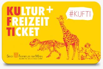 Eine Grafik des Kultur-und Freizeittickets, weiße und rote Schrift auf gelbem Hintergrund. Unter der Schrift befindet sich ein Dinosaurier, eine Giraffe und eine Dame mit Hut. Oberhalb von ihnen #Kufti