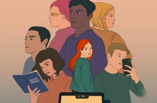 Eine Zeichnung mit sieben jugendlichen Charakteren.