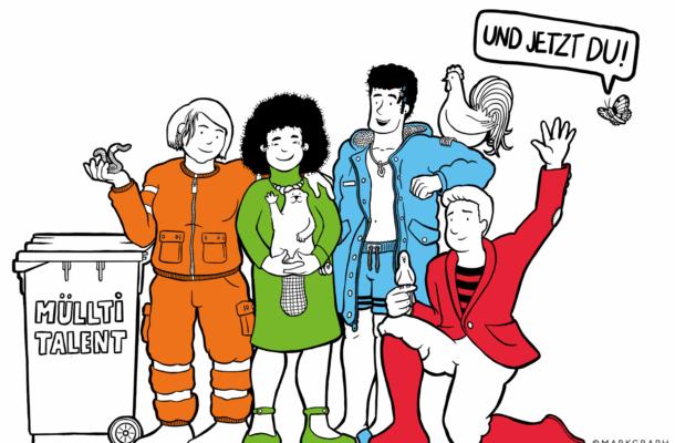 Eine Zeichnung mit vier Personen, die sich dem Umweltschutz widmen.